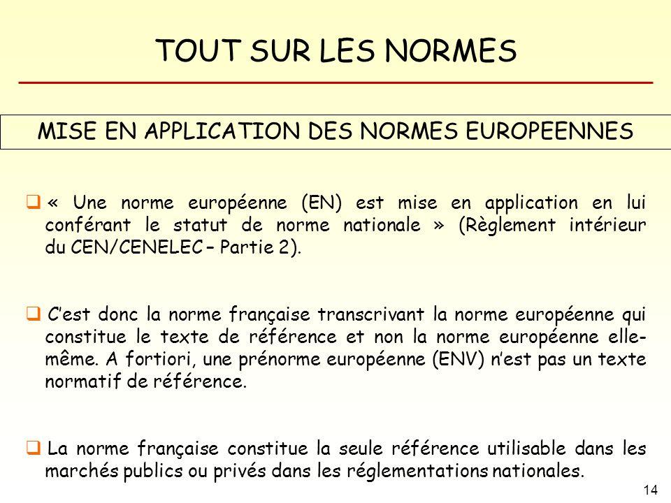 TOUT SUR LES NORMES 14 MISE EN APPLICATION DES NORMES EUROPEENNES « Une norme européenne (EN) est mise en application en lui conférant le statut de no