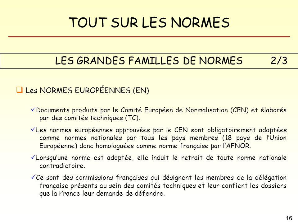 TOUT SUR LES NORMES 16 LES GRANDES FAMILLES DE NORMES Les NORMES EUROPÉENNES (EN) Documents produits par le Comité Européen de Normalisation (CEN) et