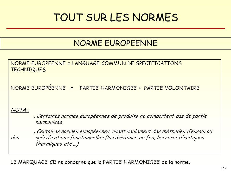 TOUT SUR LES NORMES 27 NORME EUROPEENNE NORME EUROPEENNE = LANGUAGE COMMUN DE SPECIFICATIONS TECHNIQUES NORME EUROPÉENNE =PARTIE HARMONISEE + PARTIE V