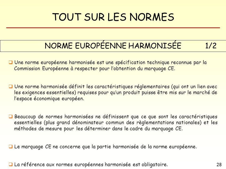 TOUT SUR LES NORMES 28 NORME EUROPÉENNE HARMONISÉE Une norme européenne harmonisée est une spécification technique reconnue par la Commission Européen