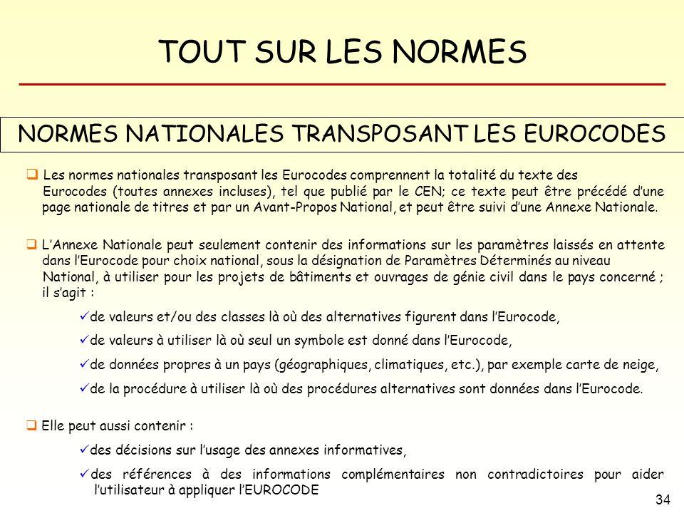TOUT SUR LES NORMES 34 NORMES NATIONALES TRANSPOSANT LES EUROCODES Les normes nationales transposant les Eurocodes comprennent la totalité du texte de