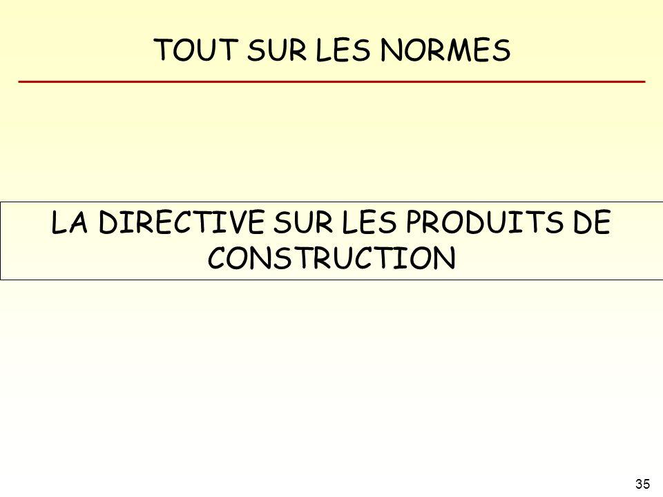 TOUT SUR LES NORMES 35 LA DIRECTIVE SUR LES PRODUITS DE CONSTRUCTION