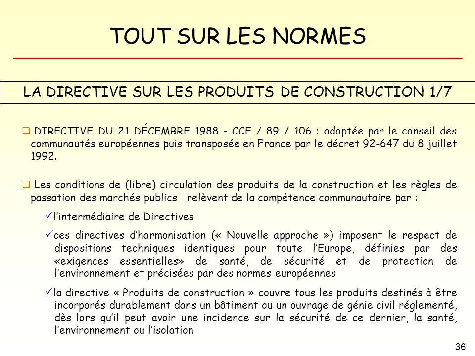 TOUT SUR LES NORMES 36 LA DIRECTIVE SUR LES PRODUITS DE CONSTRUCTION 1/7 DIRECTIVE DU 21 DÉCEMBRE 1988 - CCE / 89 / 106 : adoptée par le conseil des c