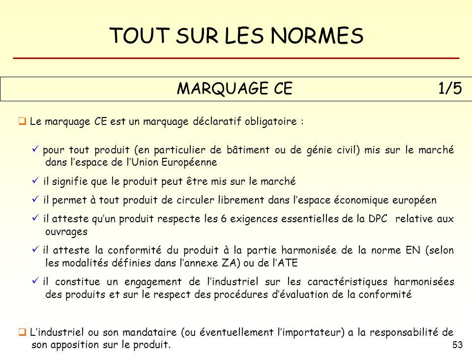TOUT SUR LES NORMES 53 MARQUAGE CE1/5 Le marquage CE est un marquage déclaratif obligatoire : pour tout produit (en particulier de bâtiment ou de géni