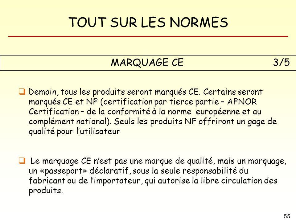 TOUT SUR LES NORMES 55 MARQUAGE CE3/5 Demain, tous les produits seront marqués CE. Certains seront marqués CE et NF (certification par tierce partie –