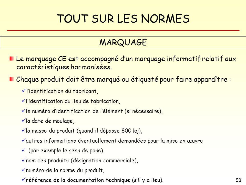 TOUT SUR LES NORMES 58 MARQUAGE Le marquage CE est accompagné dun marquage informatif relatif aux caractéristiques harmonisées. Chaque produit doit êt