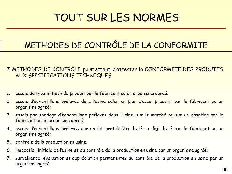 TOUT SUR LES NORMES 66 METHODES DE CONTRÔLE DE LA CONFORMITE 7 METHODES DE CONTROLE permettent dattester la CONFORMITE DES PRODUITS AUX SPECIFICATIONS