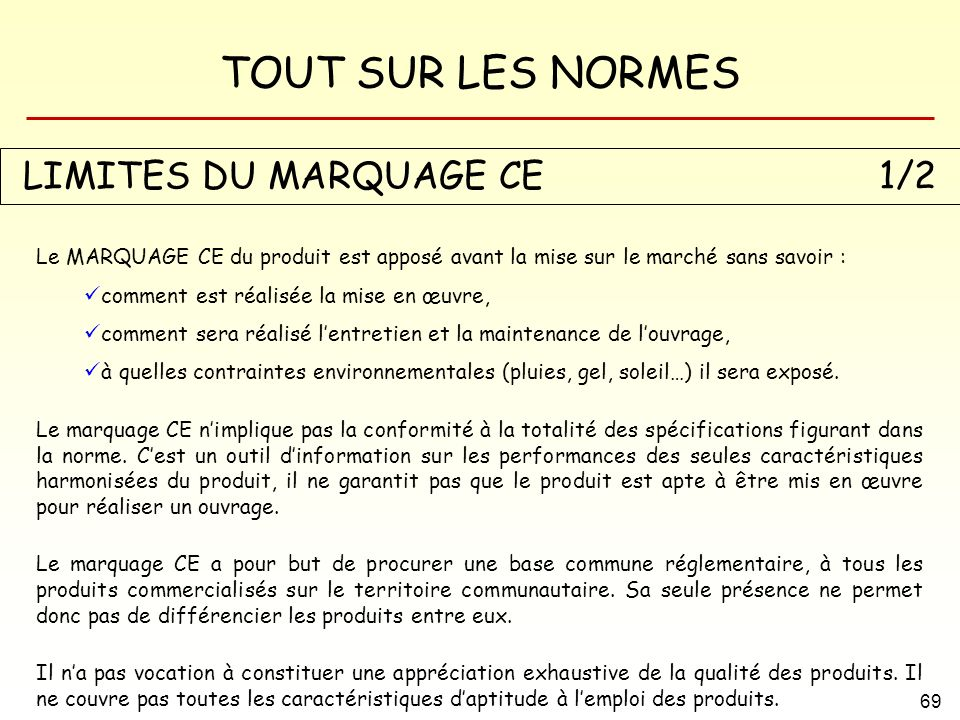 TOUT SUR LES NORMES 69 LIMITES DU MARQUAGE CE1/2 Le MARQUAGE CE du produit est apposé avant la mise sur le marché sans savoir : comment est réalisée l