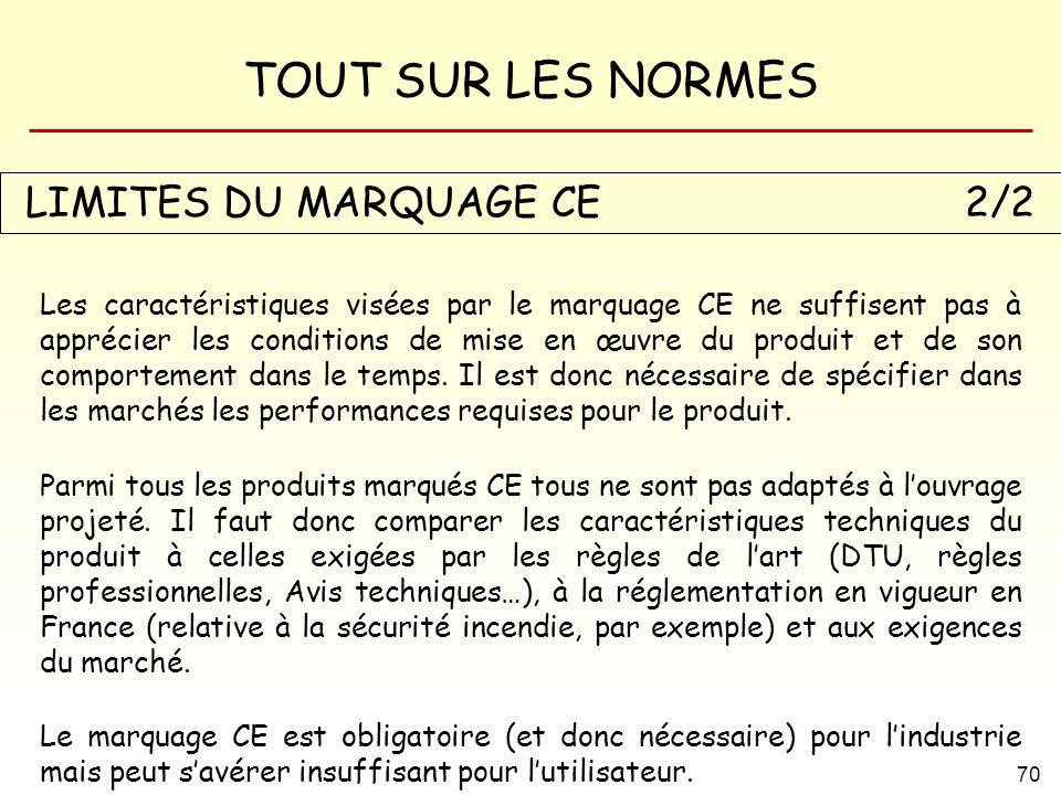 TOUT SUR LES NORMES 70 LIMITES DU MARQUAGE CE2/2 Les caractéristiques visées par le marquage CE ne suffisent pas à apprécier les conditions de mise en