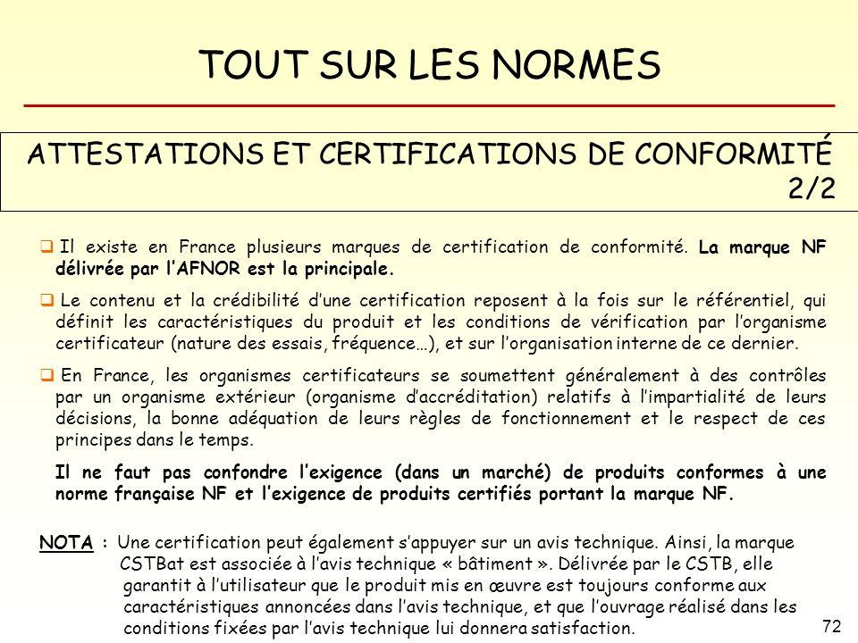TOUT SUR LES NORMES 72 ATTESTATIONS ET CERTIFICATIONS DE CONFORMITÉ 2/2 Il existe en France plusieurs marques de certification de conformité. La marqu