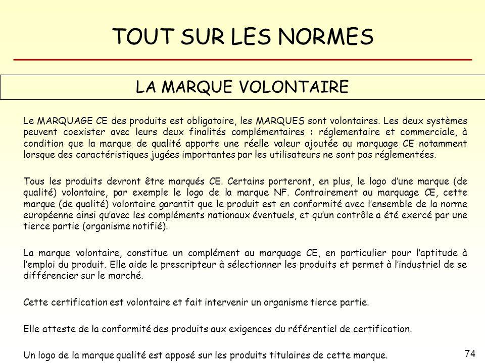 TOUT SUR LES NORMES 74 LA MARQUE VOLONTAIRE Le MARQUAGE CE des produits est obligatoire, les MARQUES sont volontaires. Les deux systèmes peuvent coexi
