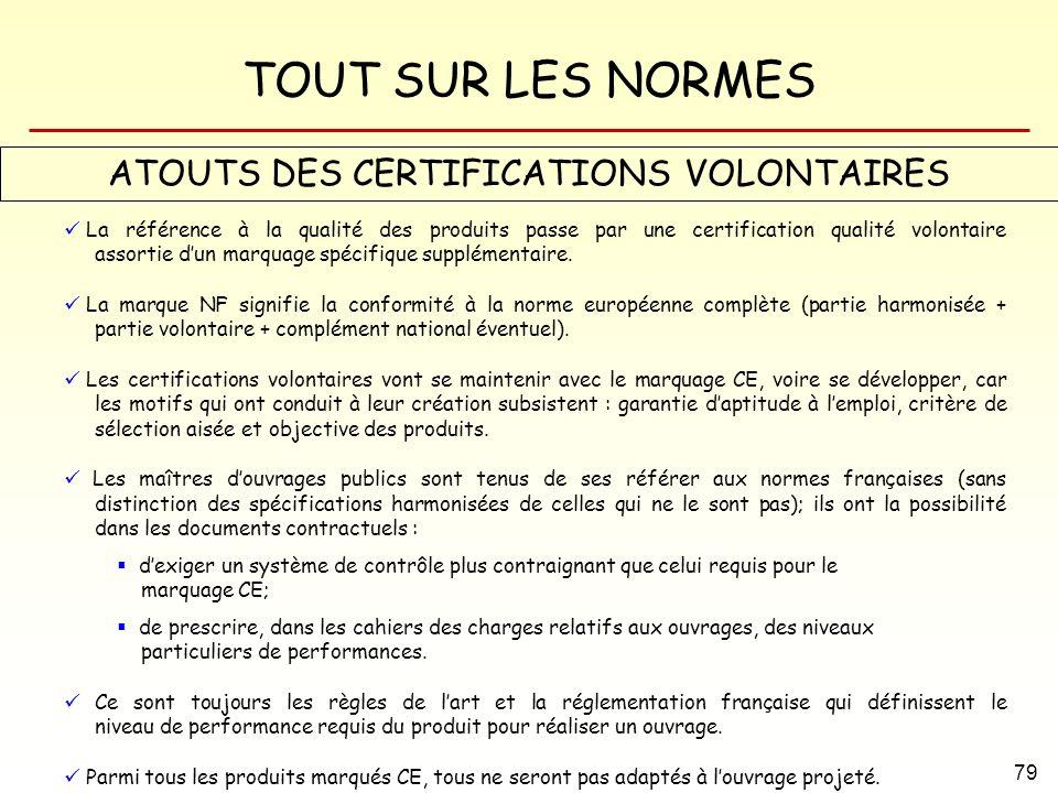 TOUT SUR LES NORMES 79 ATOUTS DES CERTIFICATIONS VOLONTAIRES La référence à la qualité des produits passe par une certification qualité volontaire ass