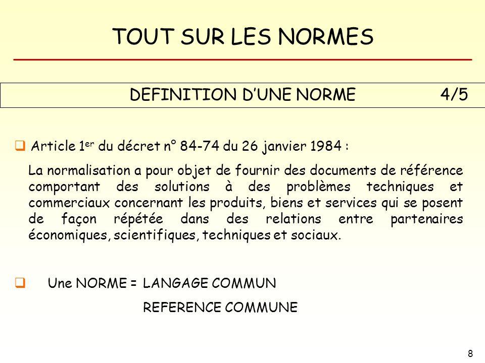 TOUT SUR LES NORMES 8 DEFINITION DUNE NORME Article 1 er du décret n° 84-74 du 26 janvier 1984 : La normalisation a pour objet de fournir des document