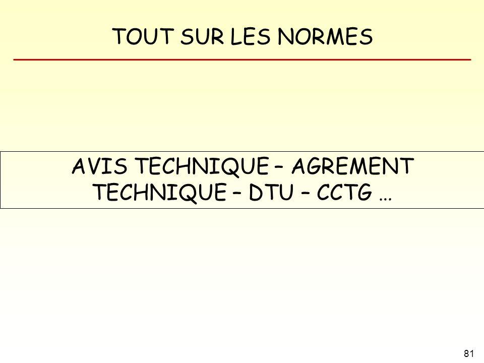 TOUT SUR LES NORMES 81 AVIS TECHNIQUE – AGREMENT TECHNIQUE – DTU – CCTG …