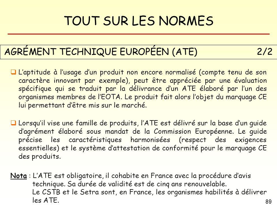 TOUT SUR LES NORMES 89 AGRÉMENT TECHNIQUE EUROPÉEN (ATE) 2/2 Laptitude à lusage dun produit non encore normalisé (compte tenu de son caractère innovan