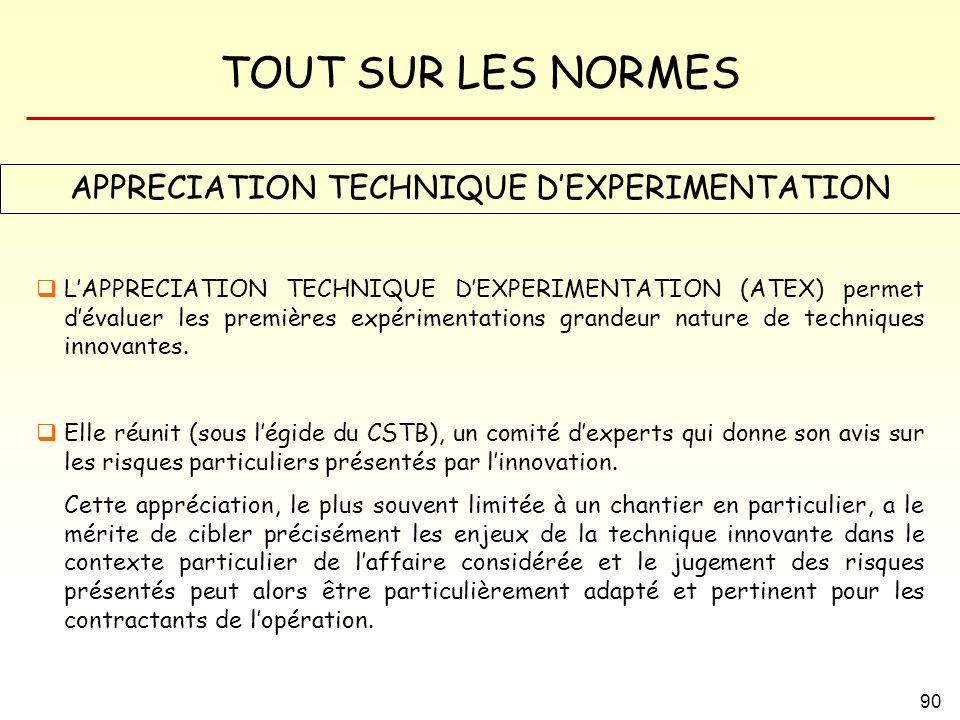TOUT SUR LES NORMES 90 APPRECIATION TECHNIQUE DEXPERIMENTATION LAPPRECIATION TECHNIQUE DEXPERIMENTATION (ATEX) permet dévaluer les premières expérimen