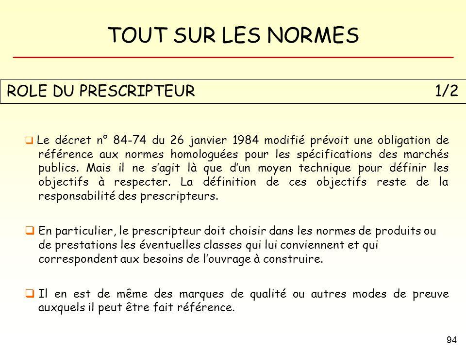 TOUT SUR LES NORMES 94 Le décret n° 84-74 du 26 janvier 1984 modifié prévoit une obligation de référence aux normes homologuées pour les spécification