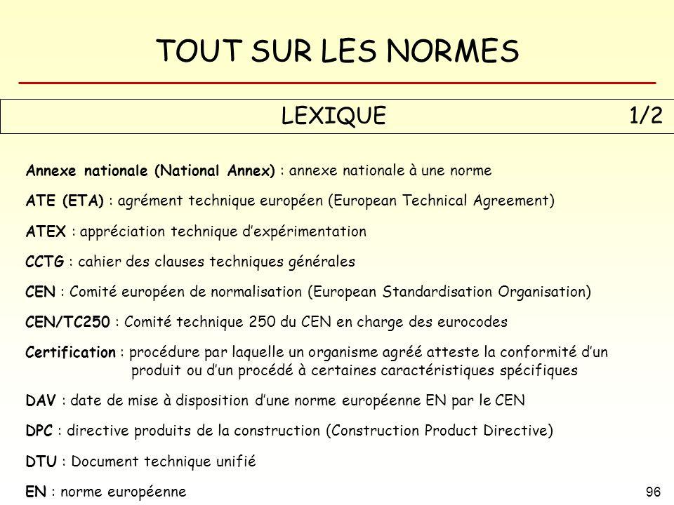 TOUT SUR LES NORMES 96 LEXIQUE 1/2 Annexe nationale (National Annex) : annexe nationale à une norme ATE (ETA) : agrément technique européen (European