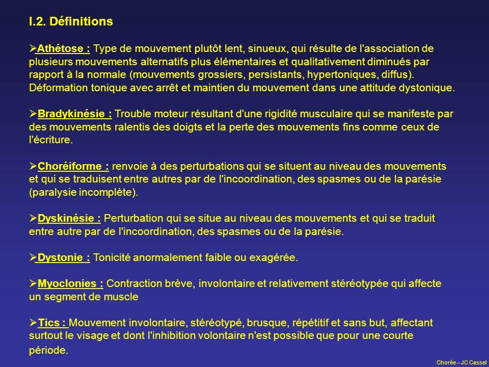 Chorée – JC Cassel I.2. Définitions Athétose : Type de mouvement plutôt lent, sinueux, qui résulte de l'association de plusieurs mouvements alternatif