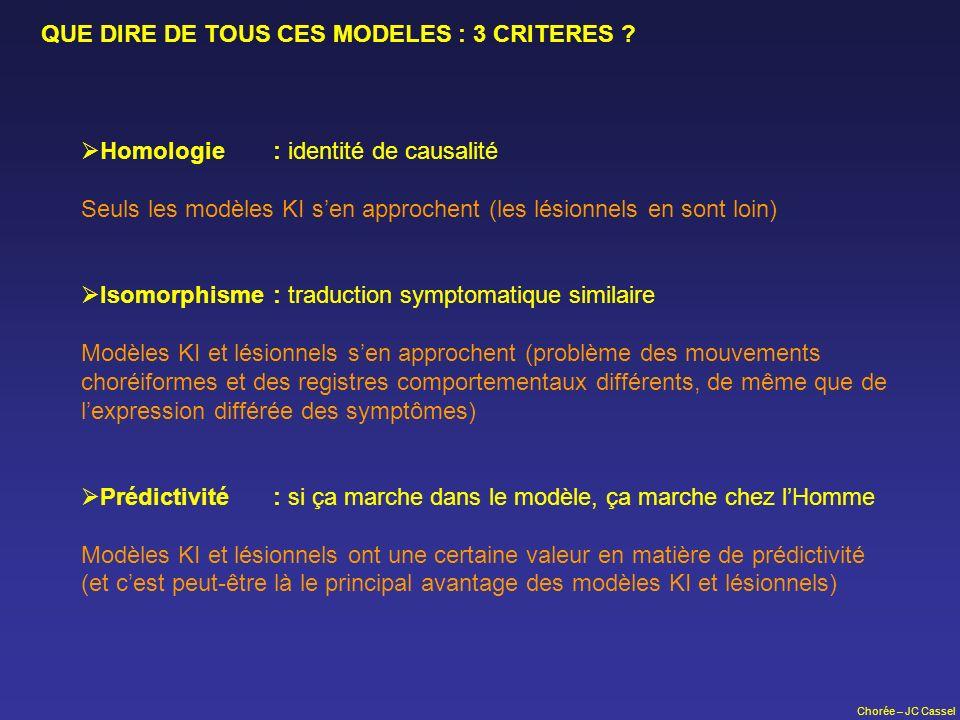 Chorée – JC Cassel QUE DIRE DE TOUS CES MODELES : 3 CRITERES ? Homologie: identité de causalité Seuls les modèles KI sen approchent (les lésionnels en