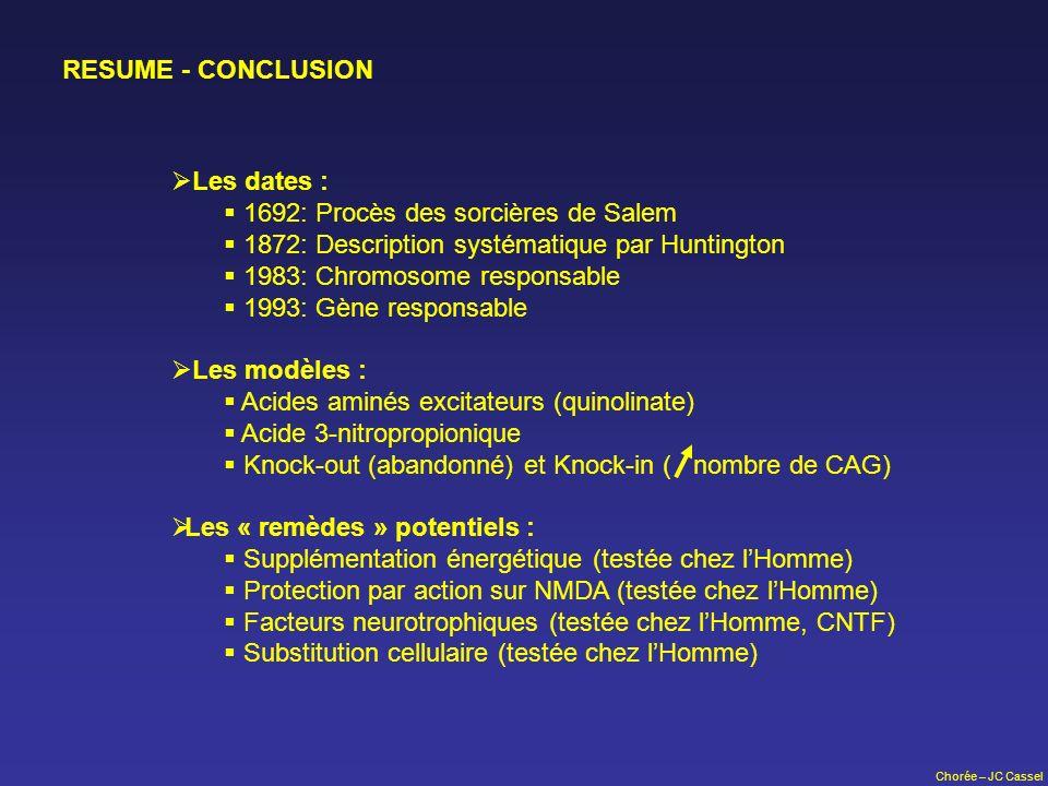 Chorée – JC Cassel RESUME - CONCLUSION Les dates : 1692: Procès des sorcières de Salem 1872: Description systématique par Huntington 1983: Chromosome