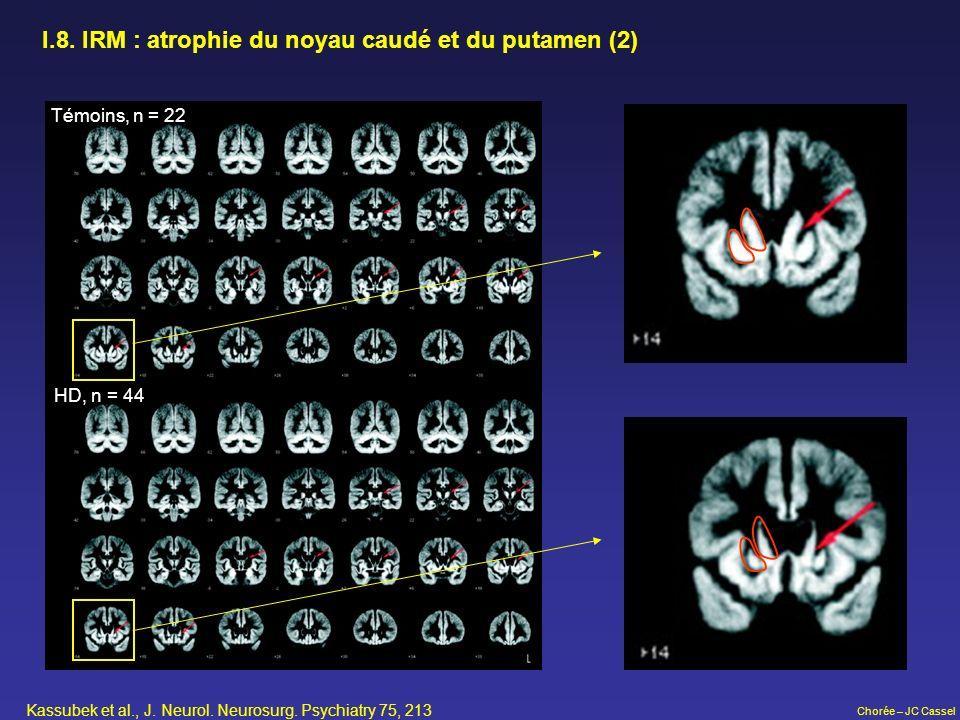 Chorée – JC Cassel I.8. IRM : atrophie du noyau caudé et du putamen (2) Témoins, n = 22 HD, n = 44 Kassubek et al., J. Neurol. Neurosurg. Psychiatry 7