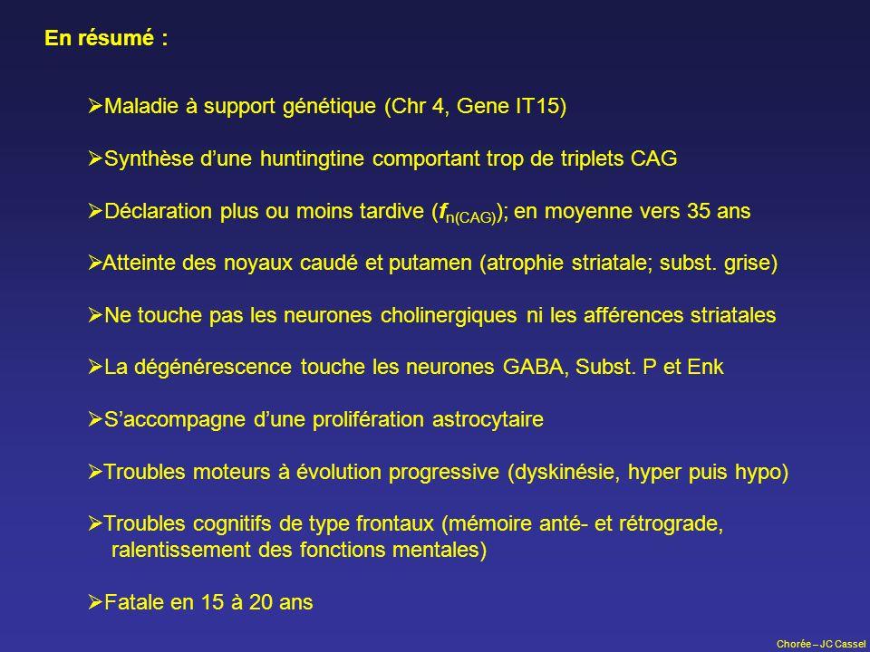Chorée – JC Cassel En résumé : Maladie à support génétique (Chr 4, Gene IT15) Synthèse dune huntingtine comportant trop de triplets CAG Déclaration pl