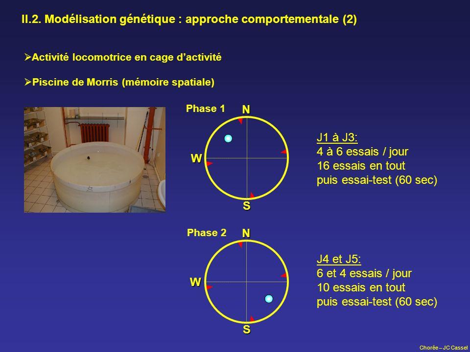 Chorée – JC Cassel II.2. Modélisation génétique : approche comportementale (2) N S W Phase 1 N S W Phase 2 J1 à J3: 4 à 6 essais / jour 16 essais en t