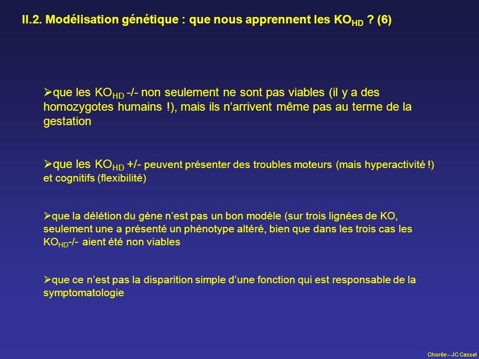 Chorée – JC Cassel II.2. Modélisation génétique : que nous apprennent les KO HD ? (6) que les KO HD -/- non seulement ne sont pas viables (il y a des