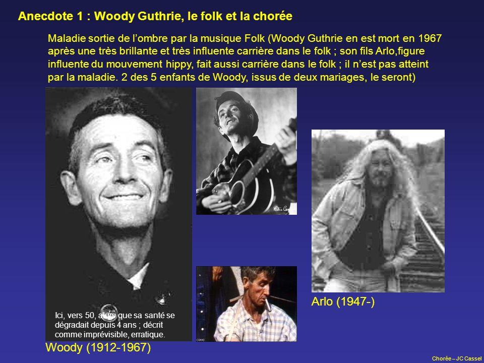 Chorée – JC Cassel Maladie sortie de lombre par la musique Folk (Woody Guthrie en est mort en 1967 après une très brillante et très influente carrière