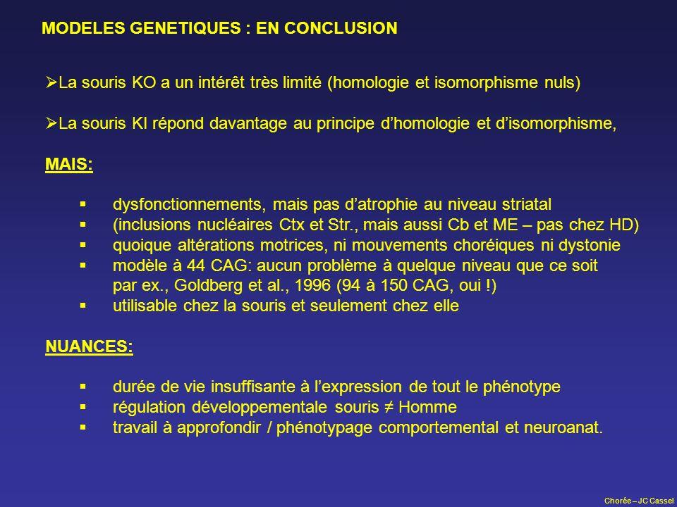 Chorée – JC Cassel MODELES GENETIQUES : EN CONCLUSION La souris KO a un intérêt très limité (homologie et isomorphisme nuls) La souris KI répond davan