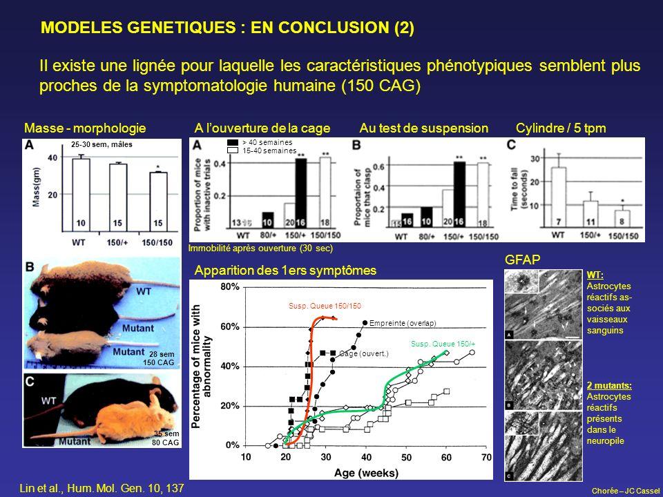 Chorée – JC Cassel MODELES GENETIQUES : EN CONCLUSION (2) Il existe une lignée pour laquelle les caractéristiques phénotypiques semblent plus proches
