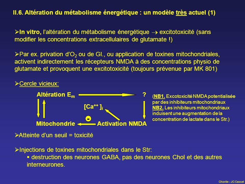Chorée – JC Cassel II.6. Altération du métabolisme énergétique : un modèle très actuel (1) In vitro, laltération du métabolisme énergétique excitotoxi