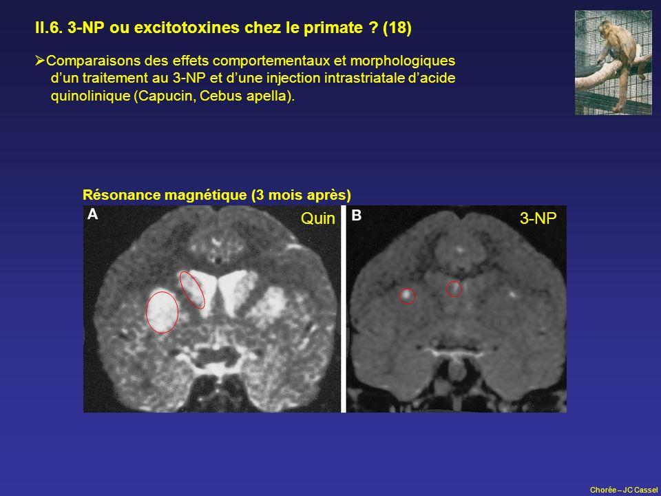 Chorée – JC Cassel II.6. 3-NP ou excitotoxines chez le primate ? (18) Comparaisons des effets comportementaux et morphologiques dun traitement au 3-NP