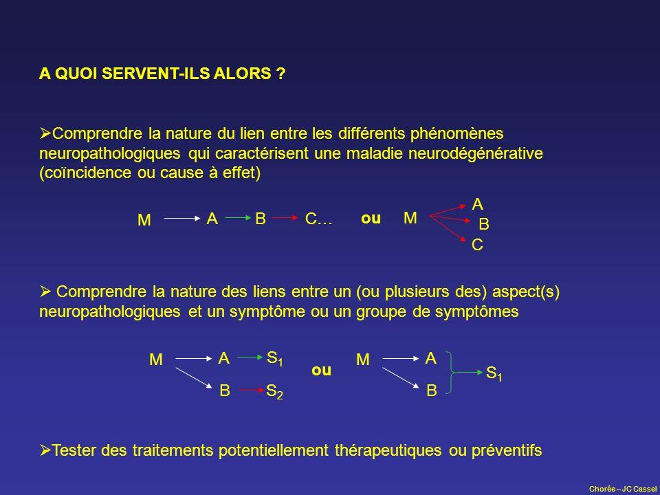 Chorée – JC Cassel A QUOI SERVENT-ILS ALORS ? Comprendre la nature du lien entre les différents phénomènes neuropathologiques qui caractérisent une ma