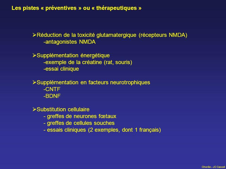 Chorée – JC Cassel Les pistes « préventives » ou « thérapeutiques » Réduction de la toxicité glutamatergique (récepteurs NMDA) -antagonistes NMDA Supp