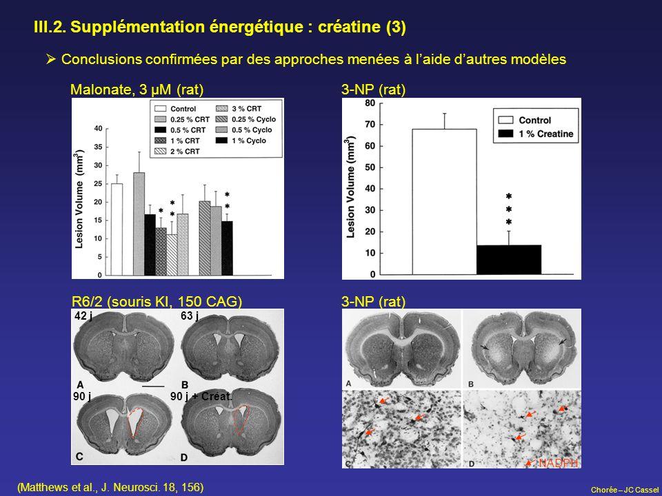 Chorée – JC Cassel III.2. Supplémentation énergétique : créatine (3) Conclusions confirmées par des approches menées à laide dautres modèles Malonate,