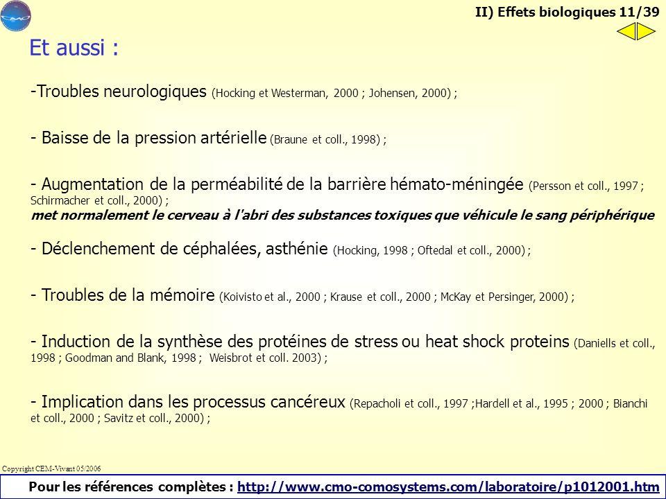 II) Quels sont ces effets biologiques a) Publications scientifiques Répercussions biologiques possibles d'une exposition prolongée aux rayonnements no