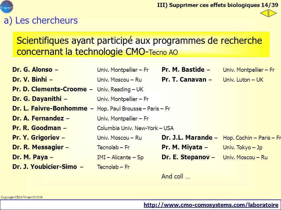 III) Supprimer ces effets biologiques a) Les chercheurs b) Etudes sur lhumain c) Etudes sur lanimal Oscillation Magnétique de Compensation - CMO techn