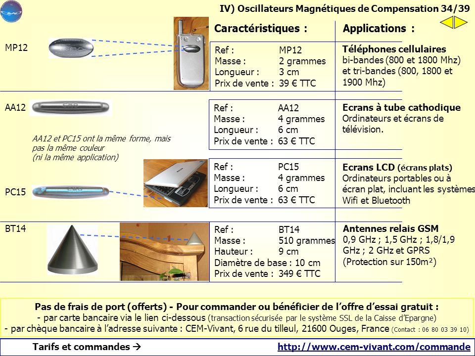 a)Les oscillateurs sont des systèmes passifs Autonomes et sans pile, contenus dans une antenne en aluminium. Temps de pose : 3 minutes, par bande adhé