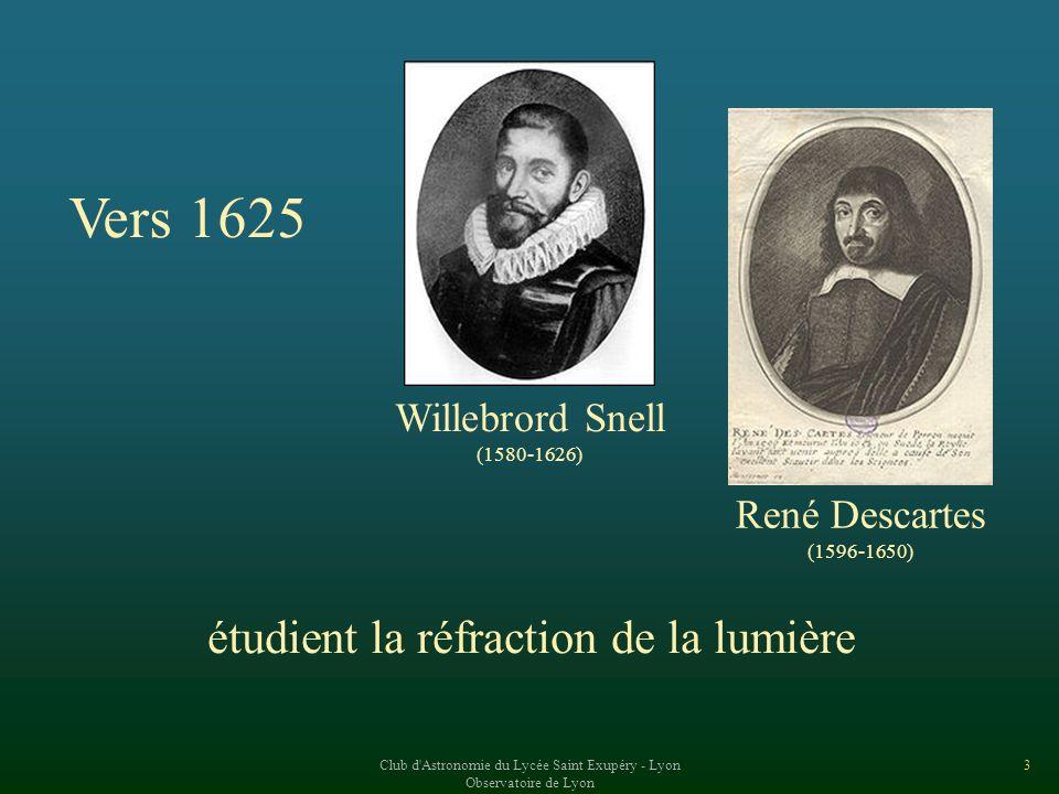 3 Vers 1625 Willebrord Snell (1580-1626) René Descartes (1596-1650) étudient la réfraction de la lumière