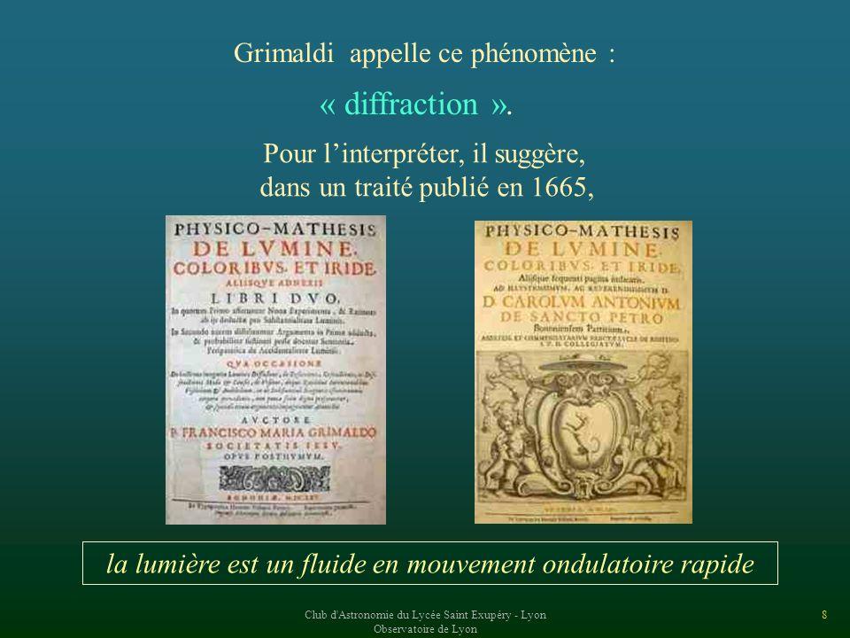 Club d Astronomie du Lycée Saint Exupéry - Lyon Observatoire de Lyon 8 Grimaldi appelle ce phénomène : « diffraction ».