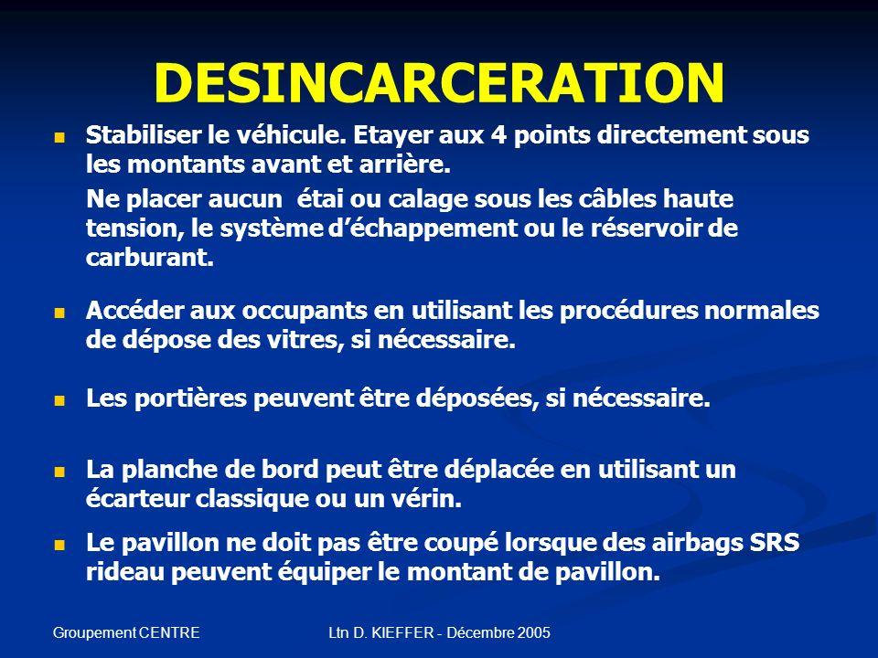 Groupement CENTRE Ltn D. KIEFFER - Décembre 2005 DESINCARCERATION Immobiliser le véhicule. Caler les roues et serrer le frein à main. Appuyer sur le b