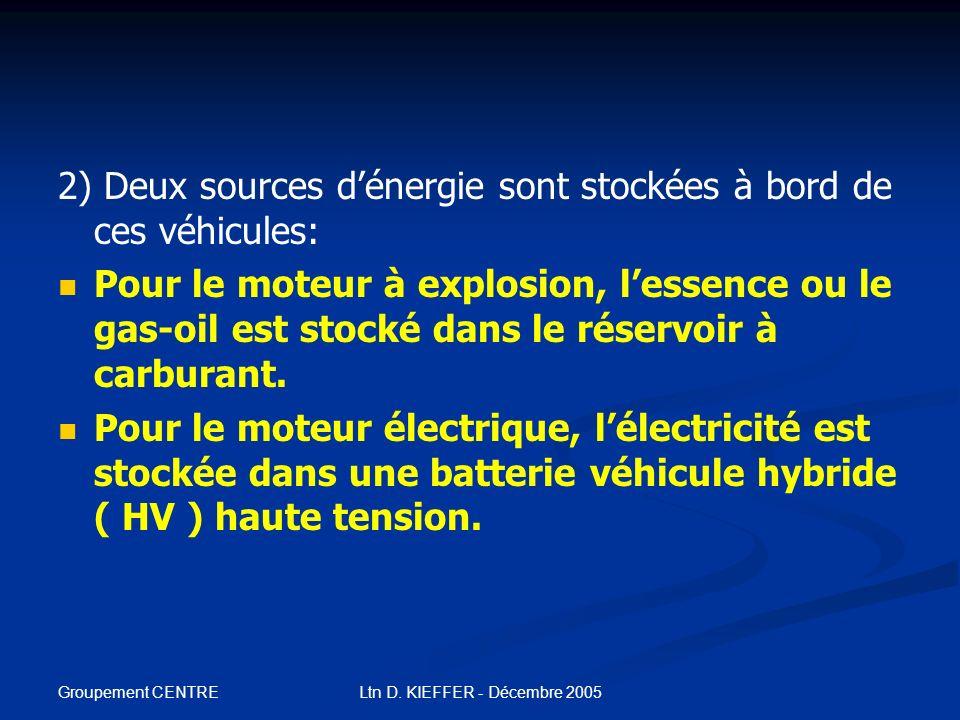 Groupement CENTRE Ltn D. KIEFFER - Décembre 2005 Véhicules mus par 2 systèmes de motorisation différents. Par conséquent: 1) Nous sommes en présence d
