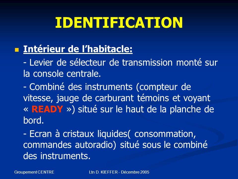 Groupement CENTRE Ltn D. KIEFFER - Décembre 2005 IDENTIFICATION Extérieur: - Logos S SS Système hybride s ss synergique et PRIUS situés sur la porte d