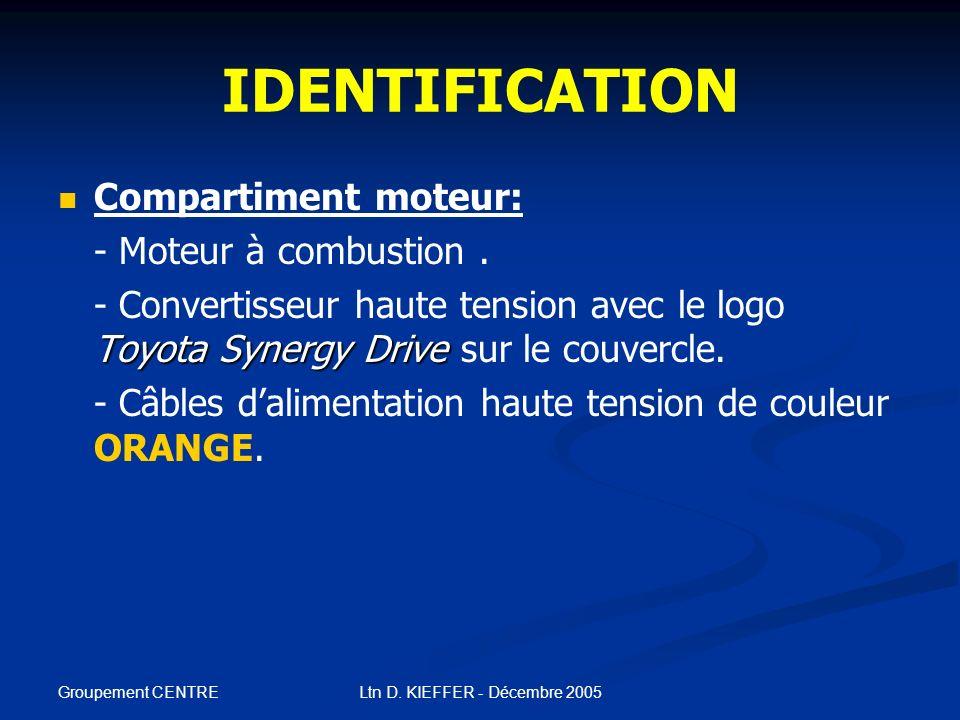Groupement CENTRE Ltn D. KIEFFER - Décembre 2005 IDENTIFICATION Intérieur de lhabitacle: - Levier de sélecteur de transmission monté sur la console ce
