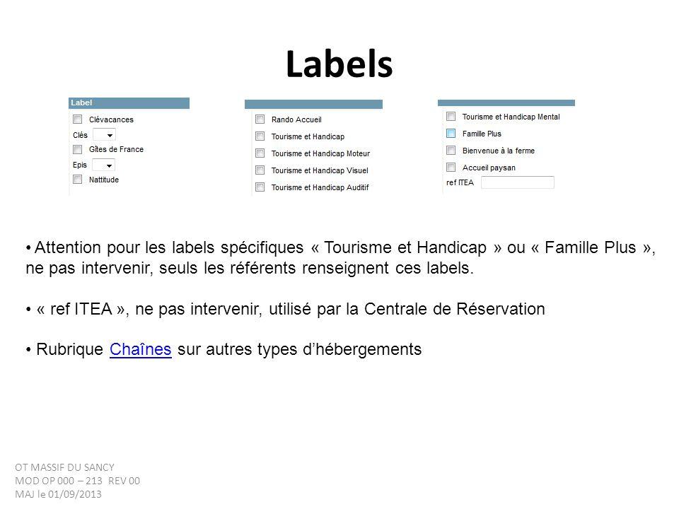 Labels Attention pour les labels spécifiques « Tourisme et Handicap » ou « Famille Plus », ne pas intervenir, seuls les référents renseignent ces labels.