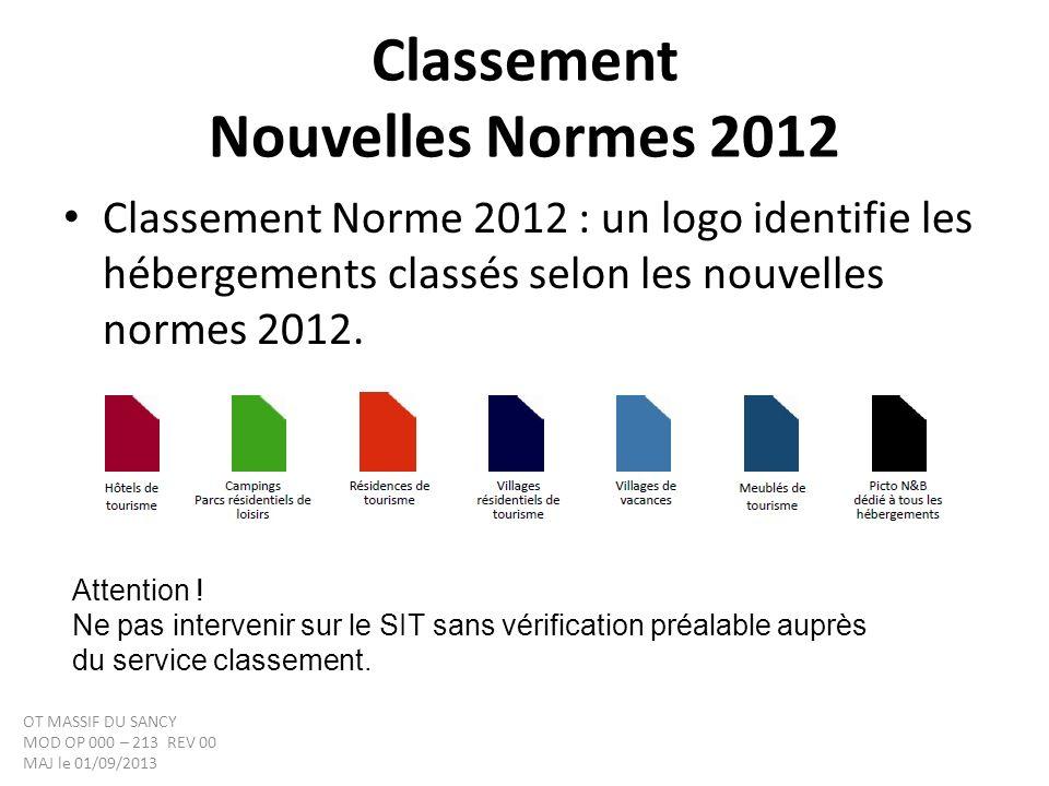 Classement Nouvelles Normes 2012 Classement Norme 2012 : un logo identifie les hébergements classés selon les nouvelles normes 2012. Attention ! Ne pa