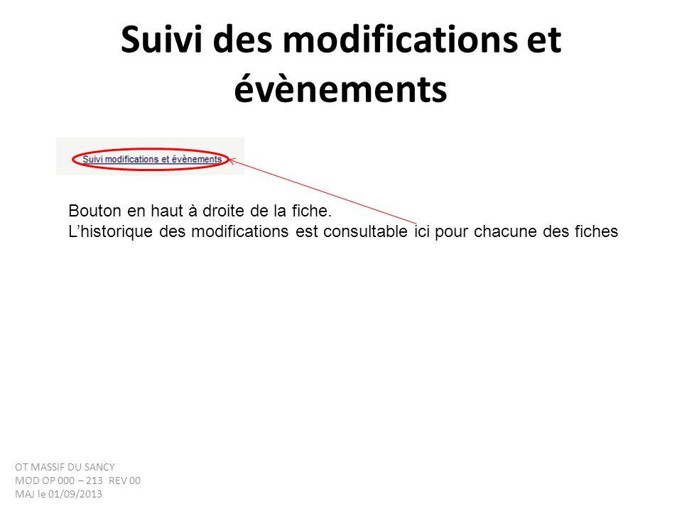 Suivi des modifications et évènements Bouton en haut à droite de la fiche. Lhistorique des modifications est consultable ici pour chacune des fiches O