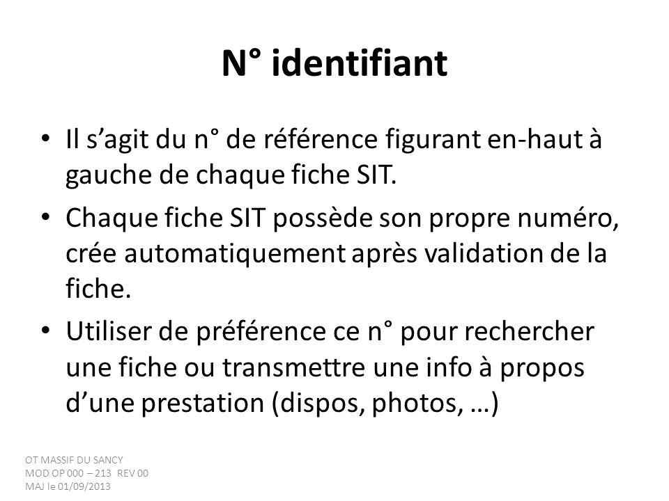 N° identifiant Il sagit du n° de référence figurant en-haut à gauche de chaque fiche SIT. Chaque fiche SIT possède son propre numéro, crée automatique